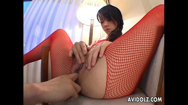 Asian in her fishnet body-wear toy poked ass and puss style