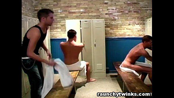 Hot College Jocks Locker Room Threesome Fuck