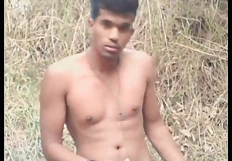 Hot Young Indian boy Dileep desi cumming in forest
