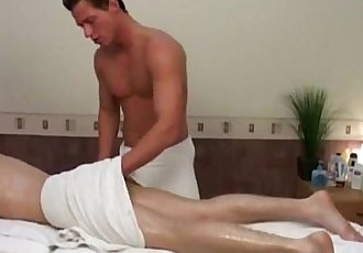 Blonde stud gets massage before bareback fucking