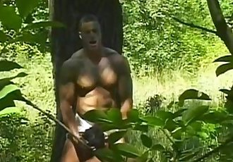 Spicy hard bodied muscled studs pounding ass holes in the woods