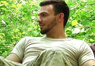 Hunk Kaden Alexander rides Jason Maddox hard cock out in the woods