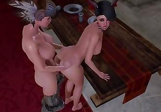 Futa x Female throne room