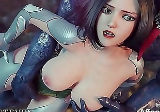 Big Tits Angelita fucked hard by a monster in a 3d animation 3 min 1080p