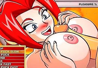 Anime Girls: Red Head Aisha Gives Man A Titty Fuck 10 min HD