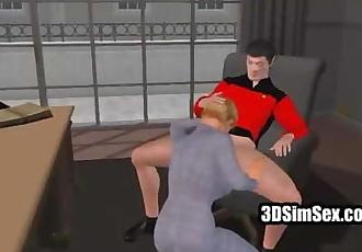 Slut fucked in 3D