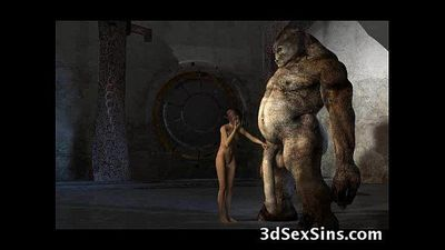 Monsters Fuck 3D Babes! - 3 min