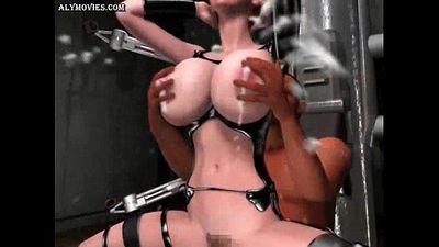 Sexy animated bitch with milky boobs - 2 min