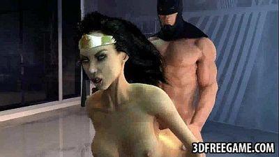 Hot 3D cartoon Wonder Woman gets fucked by Batman - 2 min