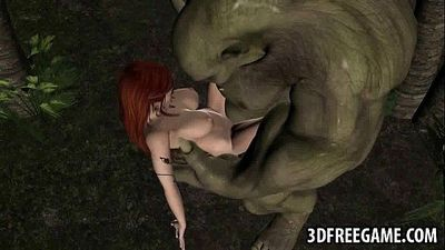 3D elf babe getting fucked hard outdoors by an orc - 2 min