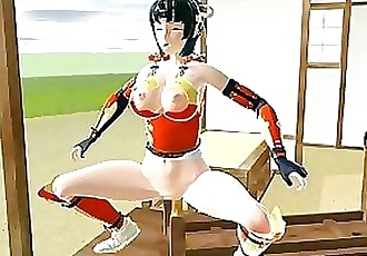 3D hentai shoving samurai in her wetpussy and assfucked by shemal