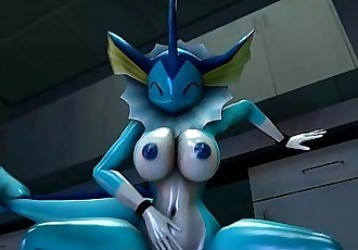 Vaporeon takes another dildo in her pussy - 42 sec