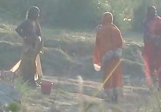 Desi granny changing after bath on river - 1 min 7 sec