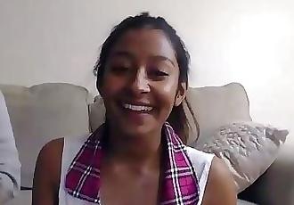 WMAF -Mindblowing Desi Indian teen sucks her White boyfriends cock on cam.