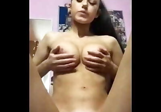 Sexy EXGF Spitting on her tits