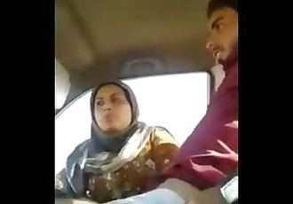 Indian Muslim Aunty having Fun in Car