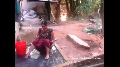 Desi Vilage Wife Open Bathing in Topless Caught by Indian Hidden Cams - 1 min 29 sec