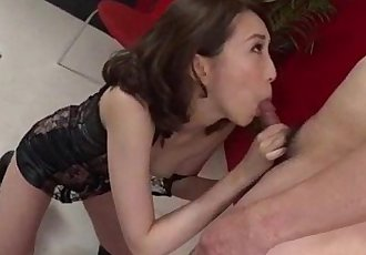 Aya Kisaki wife in lingerie blows a big dick in POV - 12 min