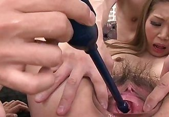 Asian milfs threesome with her two horny studs - 6 min