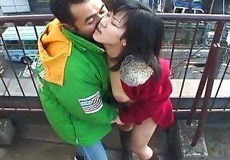 Lovely Japanese babe sucks a hard dick outdoors - 8 min