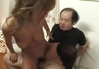 Hot Tanned Asian Girl Fucked By 2 Ugly Men Cum To Tits And To Mouth On The Bed - 9 min