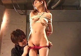 Ravishing Japanese girl is made to cum in ropes - 5 min