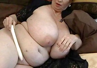 Fat granny Dagny with her big tits plays with vibrator - 6 min HD