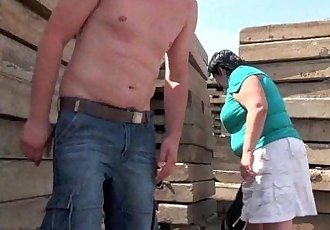 Ugly grandma with 1 inch nipples fucked outdoors - 5 min HD
