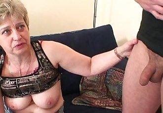 Grandma in black stockings sucks and rides at same time - 6 min