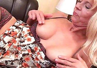 Granny in stockings fucks herself with a dildo - 5 min HD