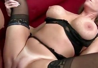 Big titted milf in stockings gets fucked