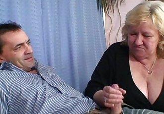 Grandma shallows two cocks then fucks - 6 min