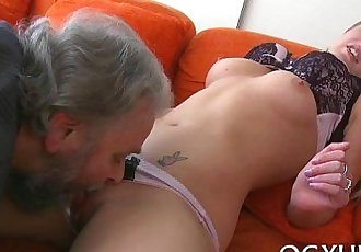 Brave young gal drilled by old knob