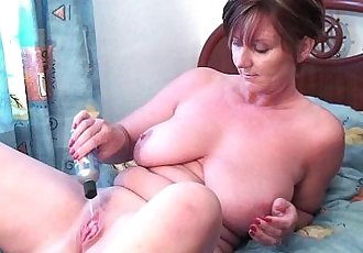 Granny Joy fucks her pussy and asshole with dildos - 5 min HD