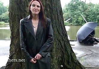 Skinny granny exhibitionist Bitez in public nudity and mature outdoor flashing o - 6 min HD