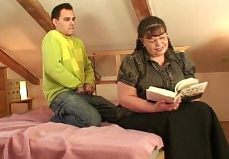 Busty bookworm bitch seduced into blowjob and cock riding - 6 min
