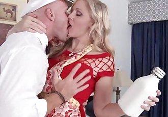 Mature blonde housewife titfucks the milkmanHD