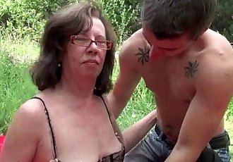 Granny gets her asshole invaded outdoors - 5 min HD