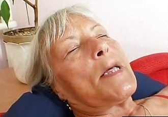 Ugly grandma Cecilie toys her hairy pussy - 5 min