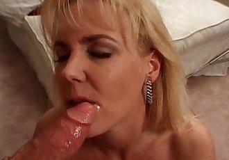 Sexy blonde MILF bitch takes stiff white