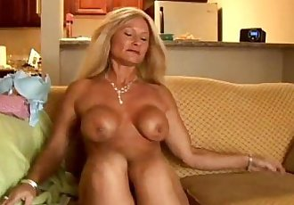 Sexy cougar slips out of her panties - 5 min