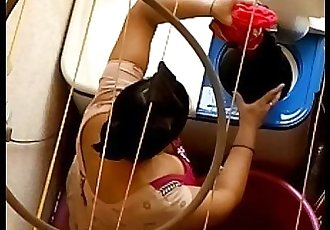 big ass aunty washing clothes in balcony - 2 min