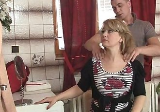 Mom rides son in law cock and his wife comes - 6 min
