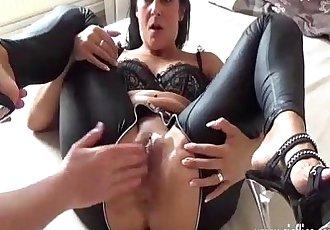 Brunette milf fist fucked in her greedy pussy