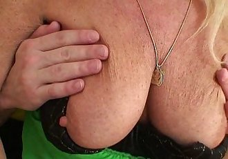 Blonde old granny rides young dick - 6 min HD