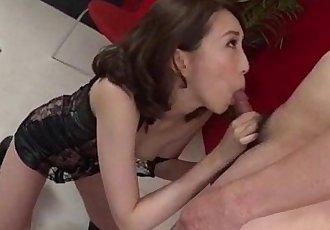 Aya Kisaki wife in lingerie blows a big dick in POV - 12 min