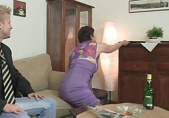 Old bitch in black stocking rides his horny cock - 6 min