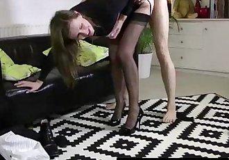British MILF Lara Latex fucking young stud
