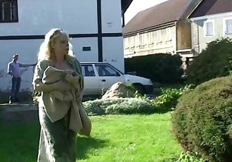 Granny rides her son-in-law cock outdoor - 6 min
