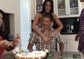 3 Hot MILFs Gang Bang The Bag Boy! - 6 min HD